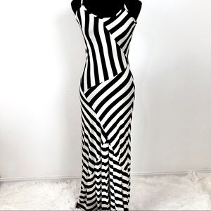 Black and white stripped maxi dress.